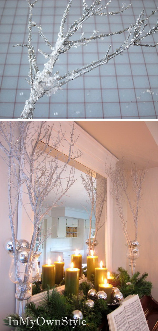 Sparkly Branches For Christmas Decoration. These sparkly branches make a big impact on holiday decor. You can just place a bunch in vases to decorate your house for Christmas and New Year's Eve.