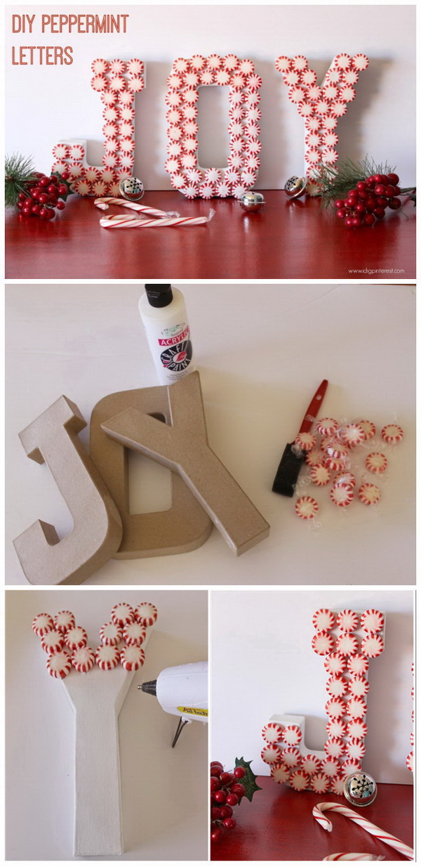 DIY Peppermint JOY Letters for Christmas. These DIY peppermint JOY letters are a fun DIY holiday craft project. It is a perfect decor piece to display in your home.