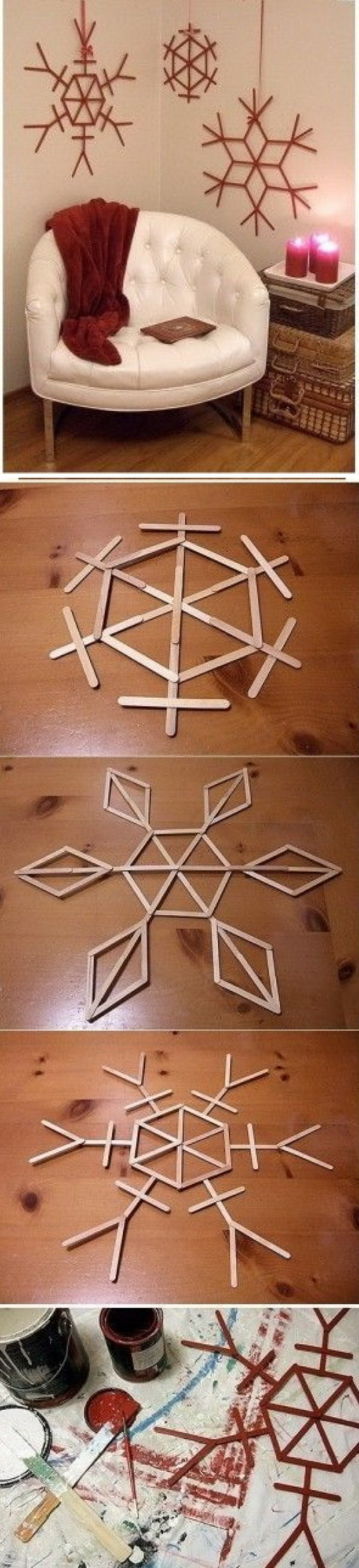 Giant Popsicle Stick Snowflakes. These festive snowflakes are fun, easy, and so inexpensive to make. Great to use to decorate your wall for Christmas!