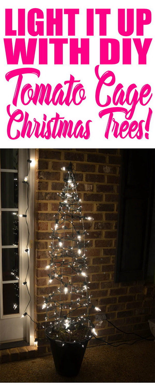 Tomato Cage Christmas Trees. Bring some budget bling to your porch this year with this stunning tomato cage Christmas tree.