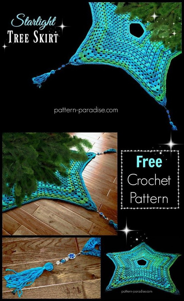Crochet Starlight Tree Skirt.