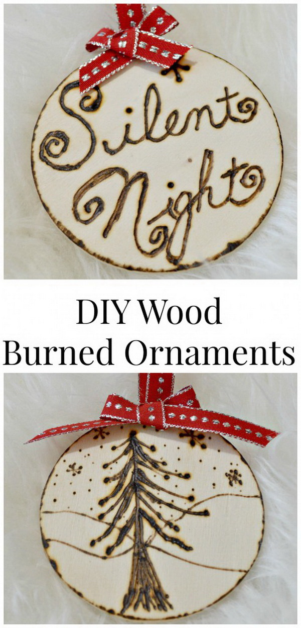 """DIY Rustic Wood Burned Ornaments. Wood burned ornaments are not difficult to make. Use the transfer technique to """"burn"""" the images onto the wood slices. These make great for rustic decor and would also make for great gifts!"""