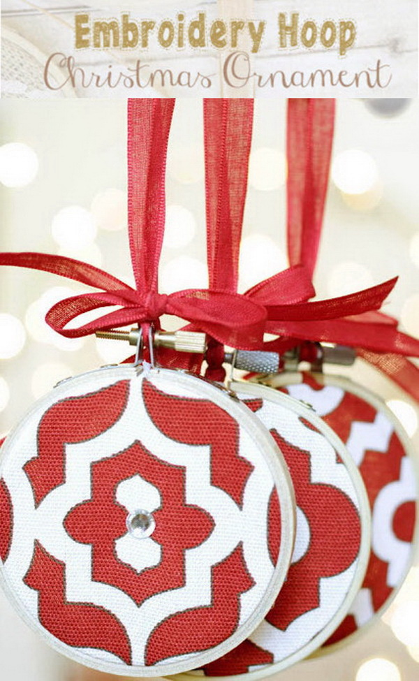 Embroidery Hoop Christmas Ornaments. These embroidery hoop Christmas ornaments are a fun craft to make with kids or to gift to friends for the holidays!