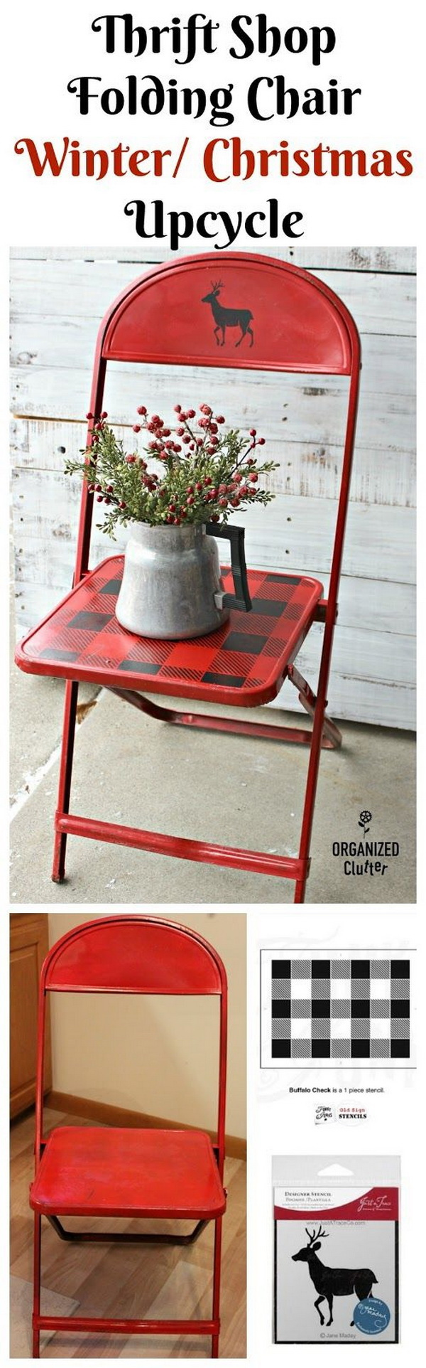 Thrift Shop Vintage Child's Metal Folding Chair Christmas Upcycle.