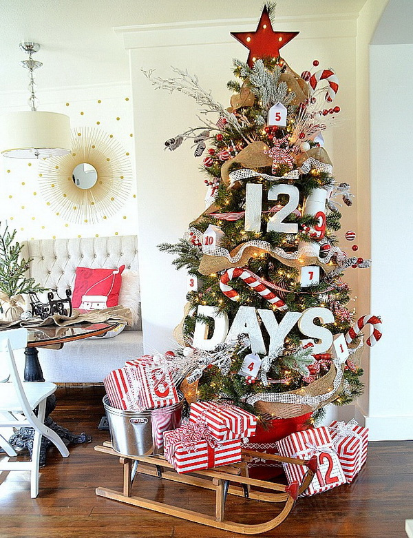 12 Days Christmas Advent Tree. This is just so much fun and I love the idea of the different gifts. Every day from now to Chirstmas day is full of surprise when you open the gift box! This is a creative way for you to enjoy the holiday and count down to Christmas with your families and friends!