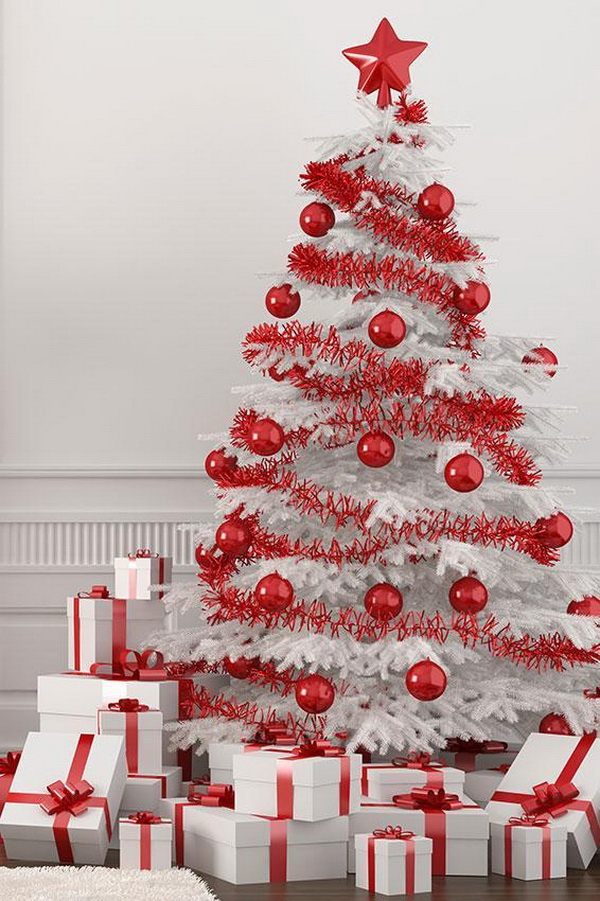 red and white themed christmas tree decorate the white christmas tree with all red decorations