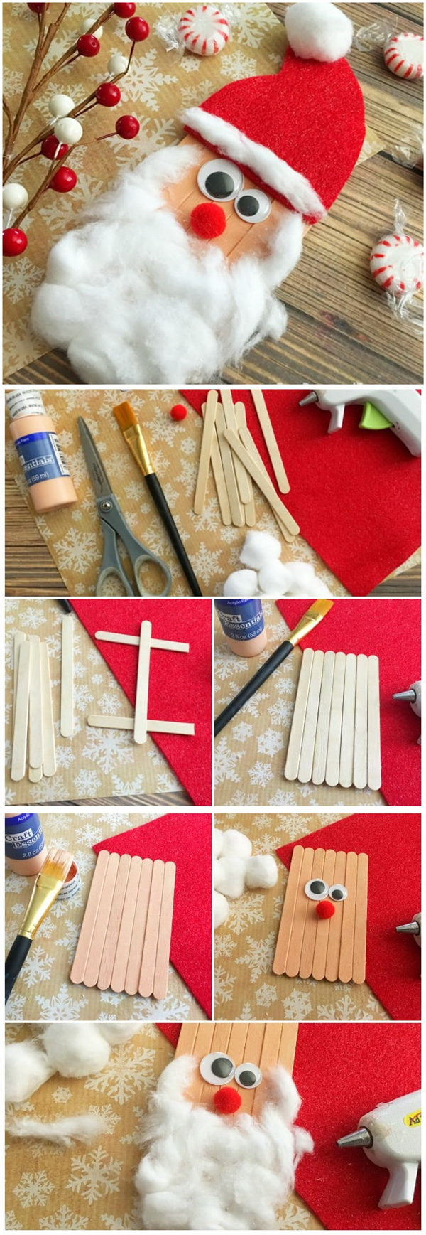 Craft Sticks Santa Craft.