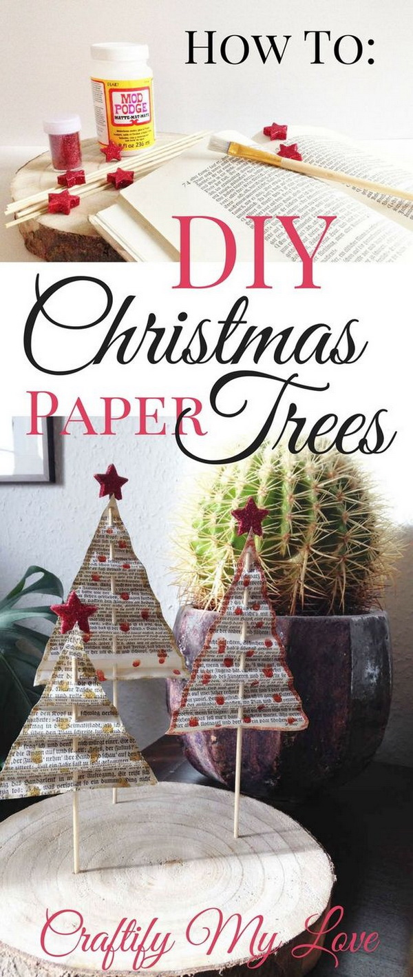 Paper Christmas Tree from Vintage Books.