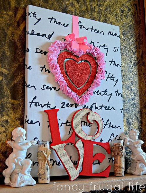 Love letters are a cool and simple solution for Valentine's mantel decoration and in any color.