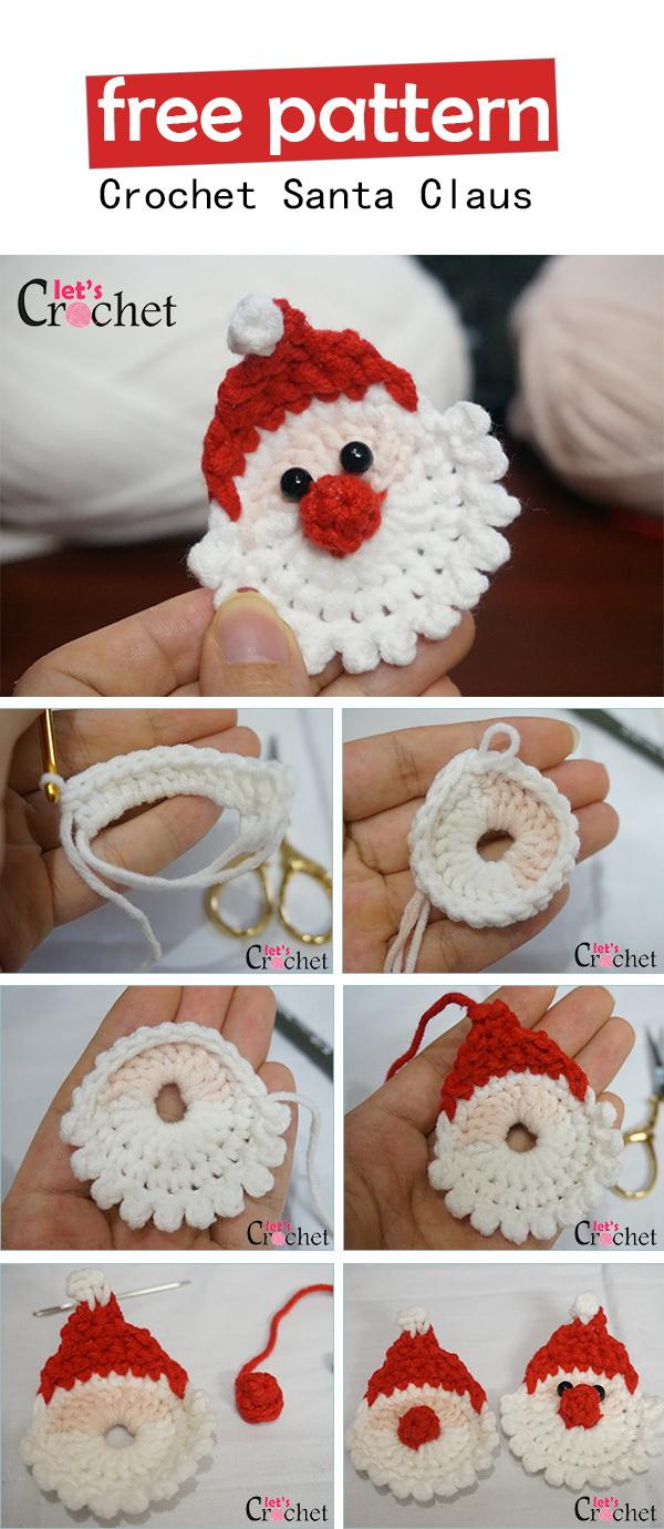 Crochet Santa Claus Christmas Hanging Ornament.