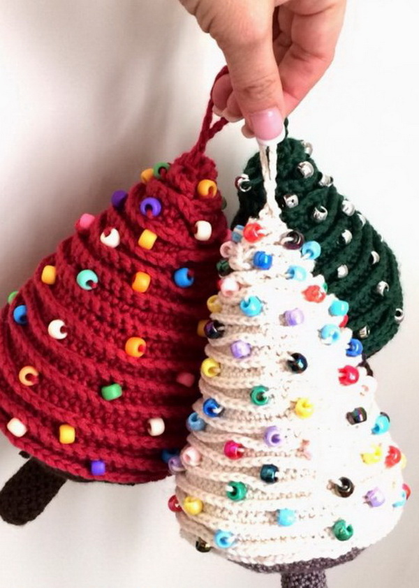 Mini Crochet Christmas Tree Ornaments. These mini Christmas tree crochet ornaments look so gorgeous and fabulous.