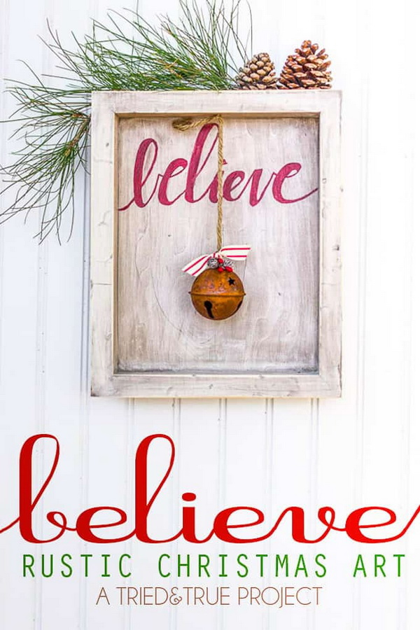 """""""Believe"""" Rustic Christmas Art. Rustic farmhouse style is always the popular choice for Christmas decorations every year. Set the tone for an incredible holiday season with this amazing rustic Christmas wall art."""