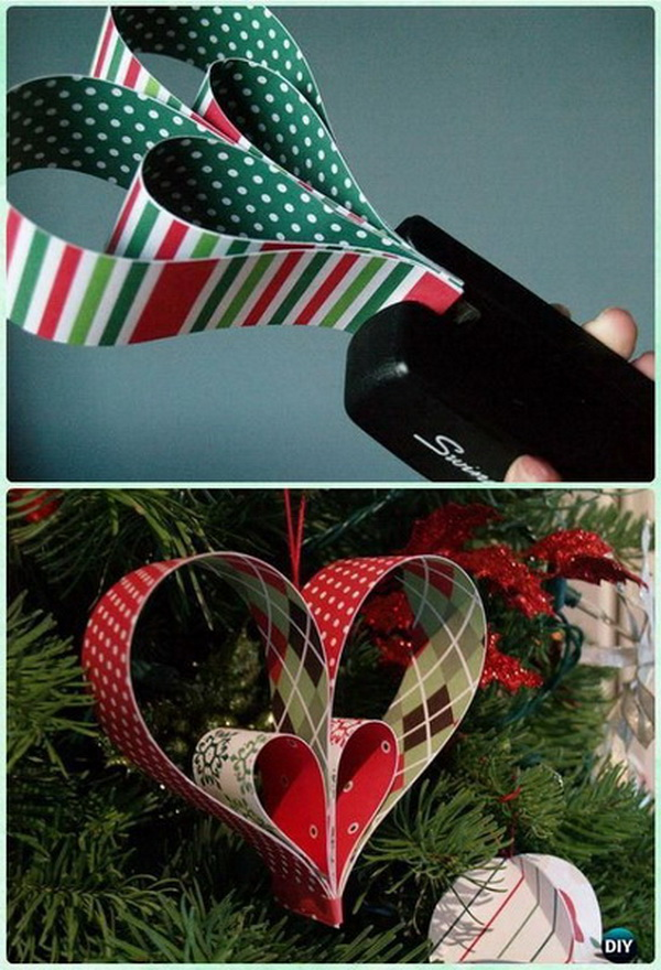 DIY Paper Heart Ornaments. Make these beautiful heart ornaments made out of paper strips for your Christmas tree decoration or use as the holiday gifts for kids this year!