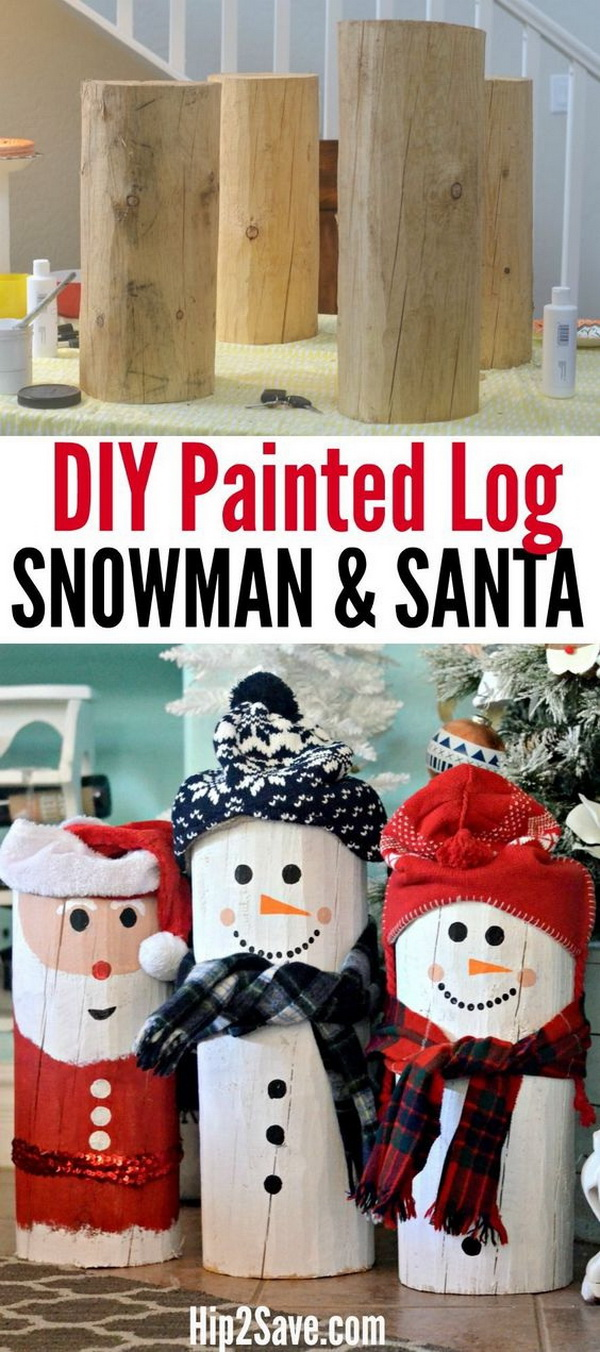 DIY Painted Santa and Snowman Logs.Turn an ordinary wood log into a snowman or Santa Claus using paint and a couple of winter accessories!