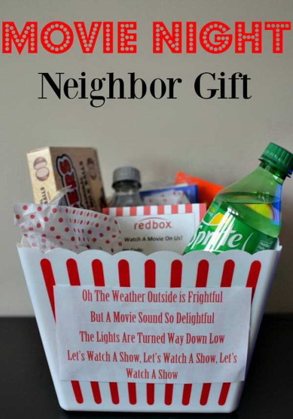 Christmas Neighbor Gift Ideas: Movie Night Neighbor Gifts