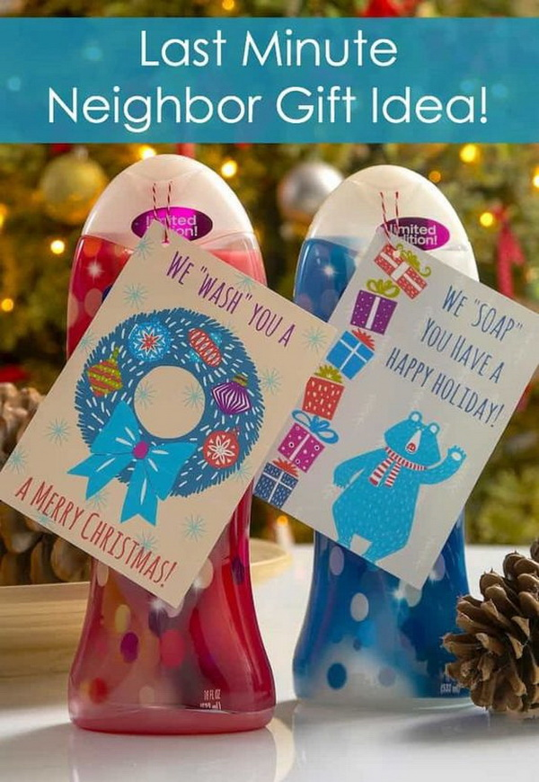 Christmas Neighbor Gift Ideas: Delicious Smelling Body Wash Products with Colorful Tags
