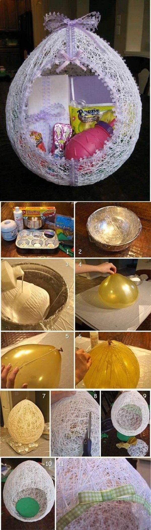 DIY Easter Decoration Ideas: Egg Shaped Easter Basket From String.