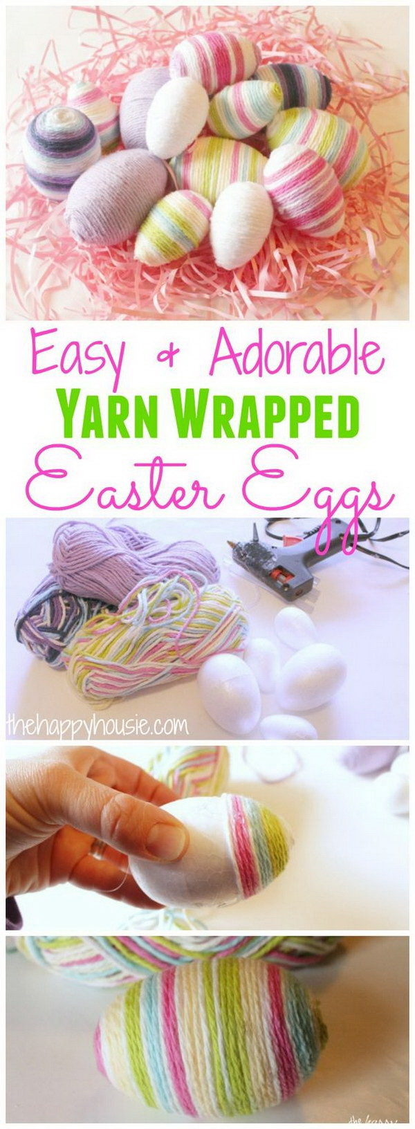 DIY Easter Decoration Ideas: Yarn Wrapped Easter Eggs.