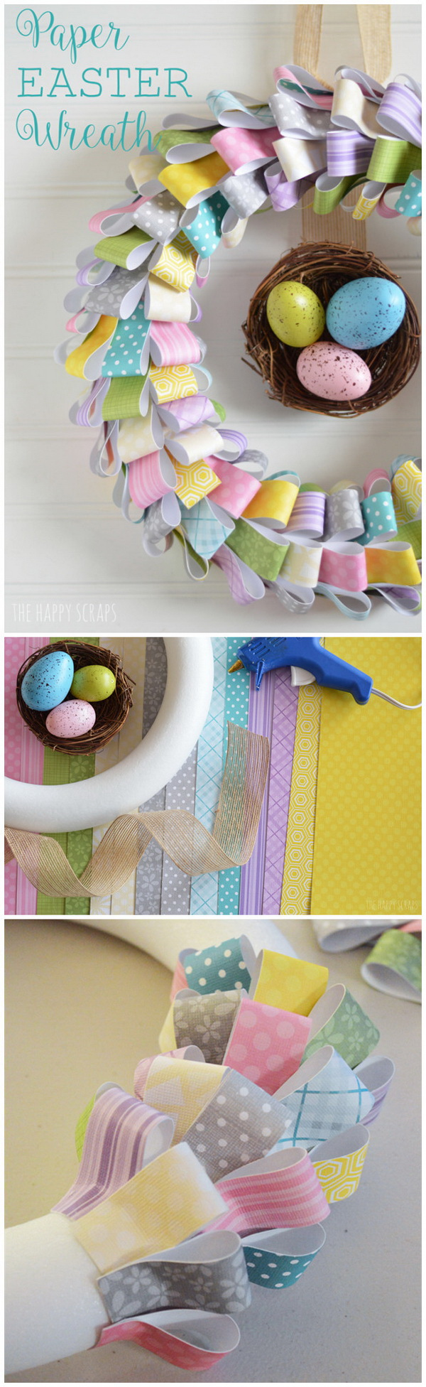 DIY Easter Decoration Ideas: Paper Easter Wreath.