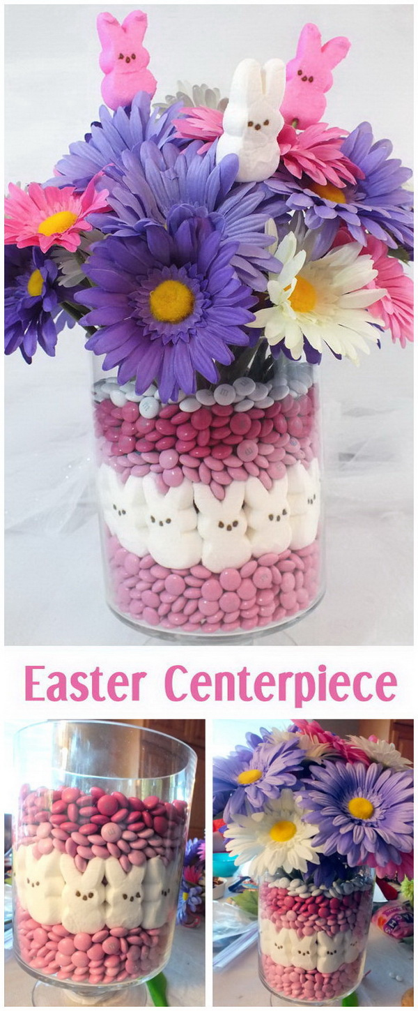 DIY Easter Decoration Ideas: DIY Pink and Purple Easter Centerpiece.