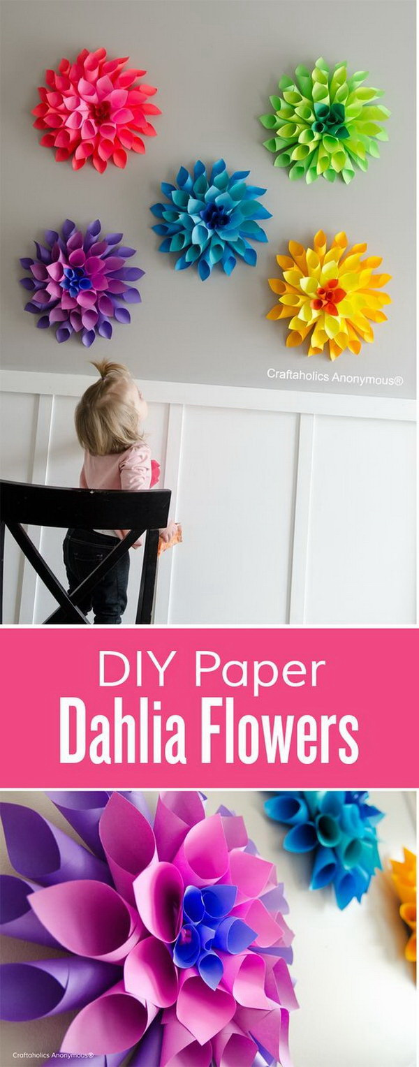 DIY Easter Decoration Ideas: Rainbow Paper Dahlia Flowers.