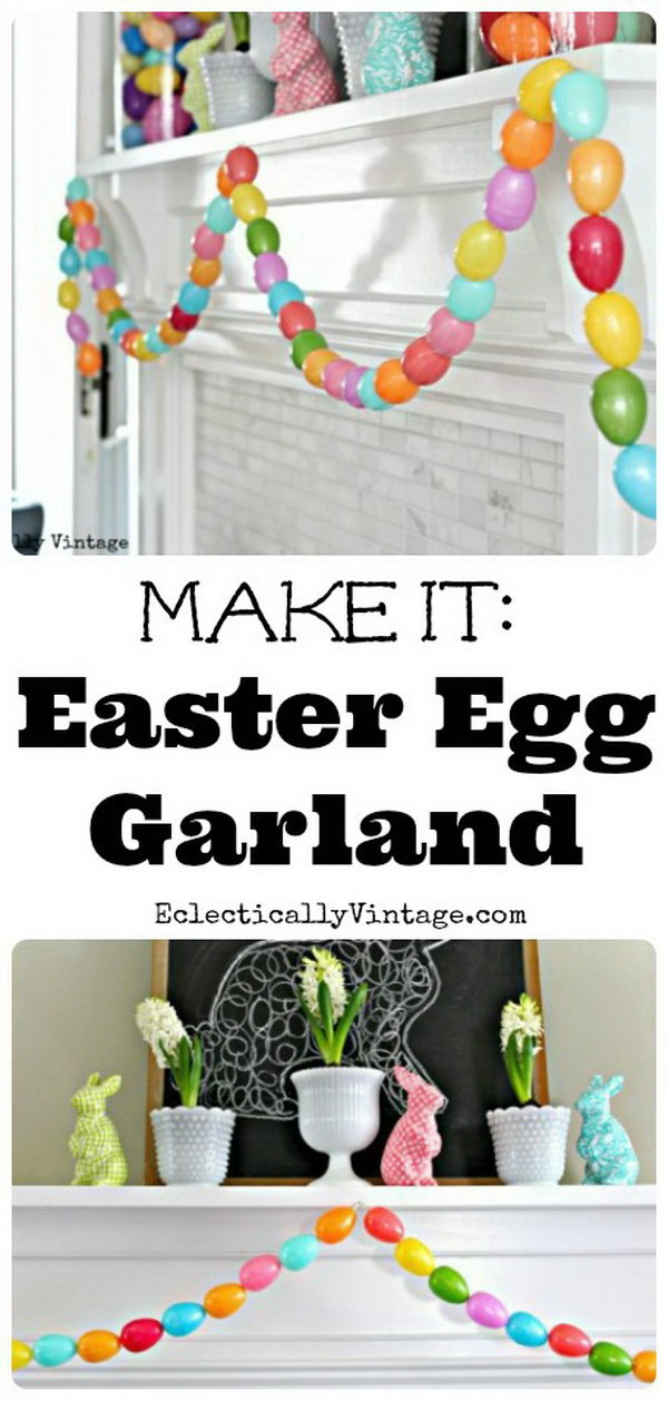 DIY Easter Decoration Ideas: Spring Mantel and DIY Egg Garland.