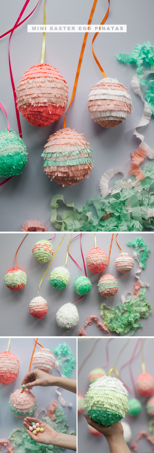 DIY Easter Decoration Ideas: DIY Mini Easter Egg Pinatas.