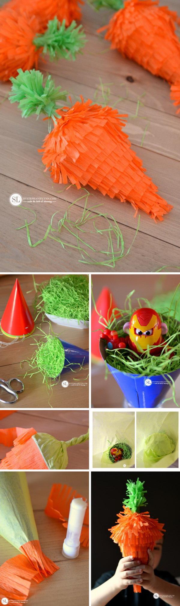 DIY Easter Decoration Ideas: DIY Mini Easter Carrot Pinatas.