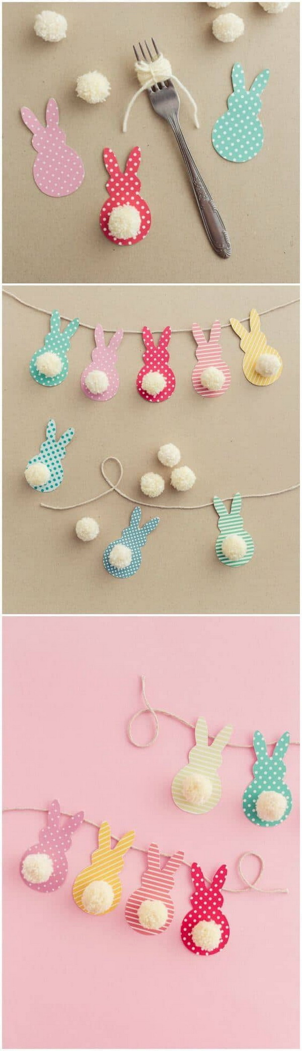 DIY Easter Decoration Ideas: Pom Pom Bunny Tail Easter Garland In A Few Steps.