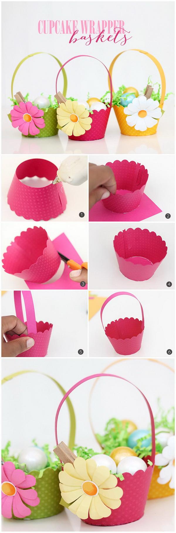 DIY Easter Decoration Ideas: DIY Cupcake Wrapper Easter Baskets.