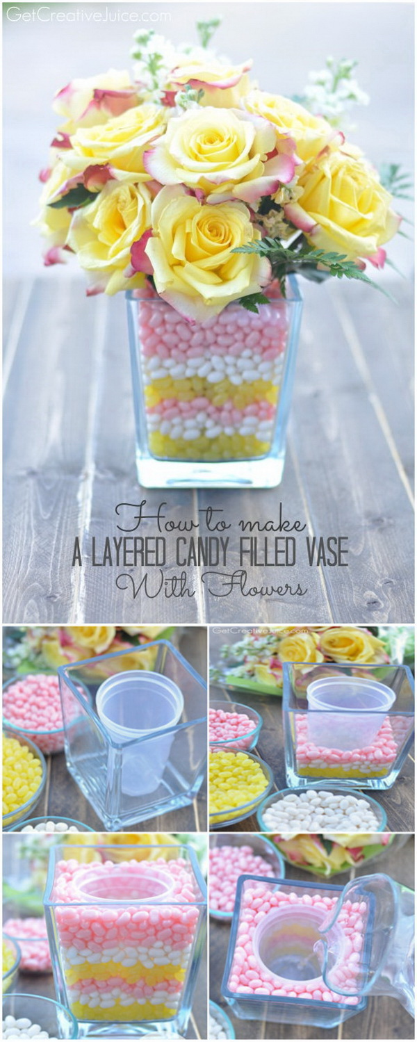 DIY Easter Decoration Ideas: Layered Candy Filled Vase With Flowers.