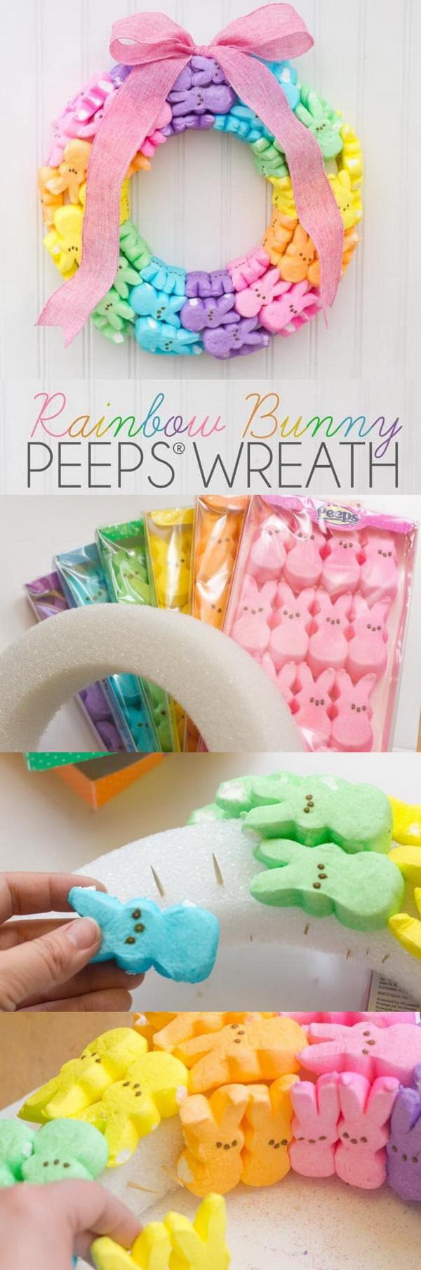 DIY Easter Decoration Ideas: Rainbow Bunny Peeps Wreath.