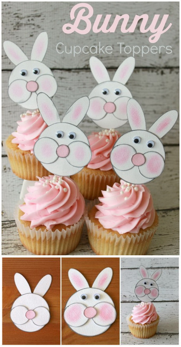 DIY Easter Decoration Ideas: Bunny Cupcake Toppers.