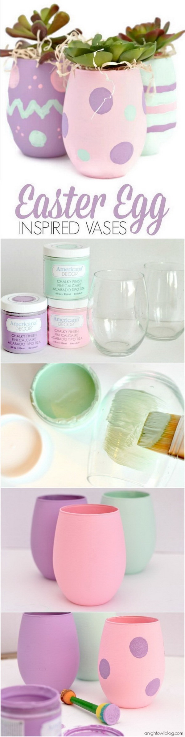 DIY Easter Decoration Ideas: Easter Egg Inspired Vases.