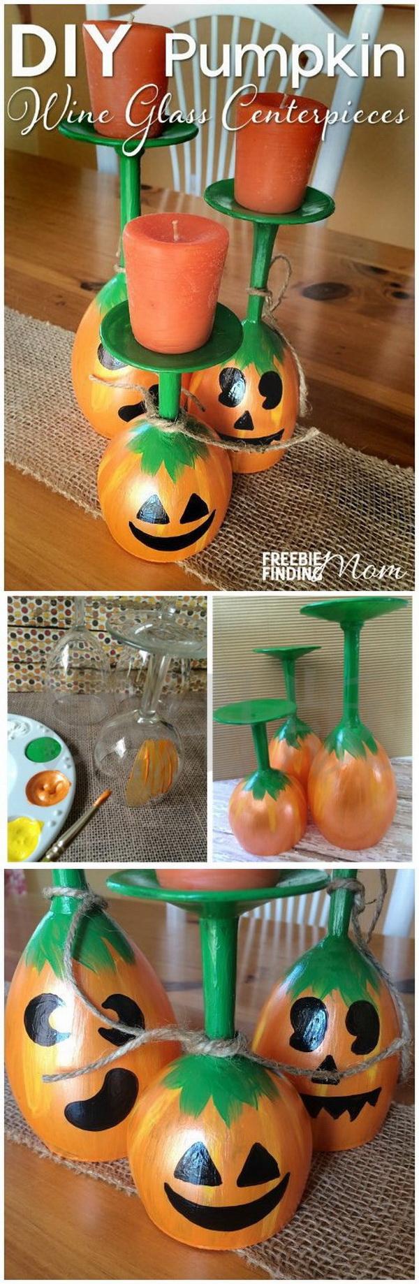 DIY Halloween Decorating Projects: DIY Pumpkin Wine Glass Centerpieces.