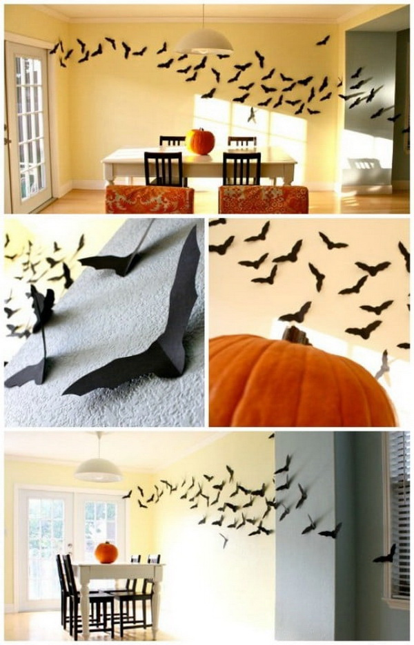 DIY Halloween Decorating Projects: DIY Black Flying Bats.