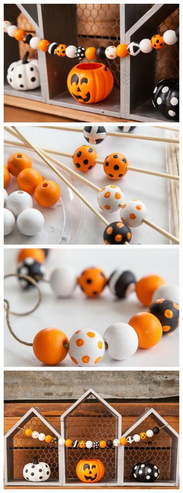 DIY Halloween Decorating Projects: DIY Halloween Wood Bead Garland.