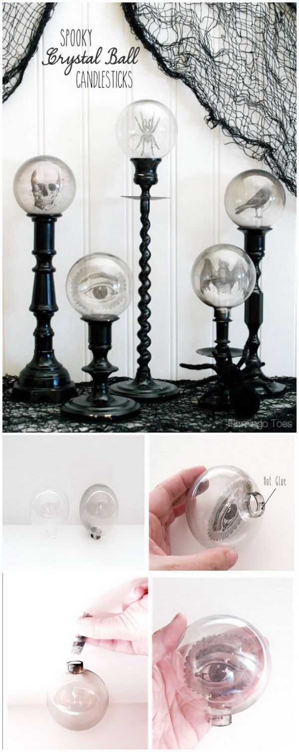 DIY Halloween Decorating Projects: Spooky Crystal Ball Halloween Candlesticks.