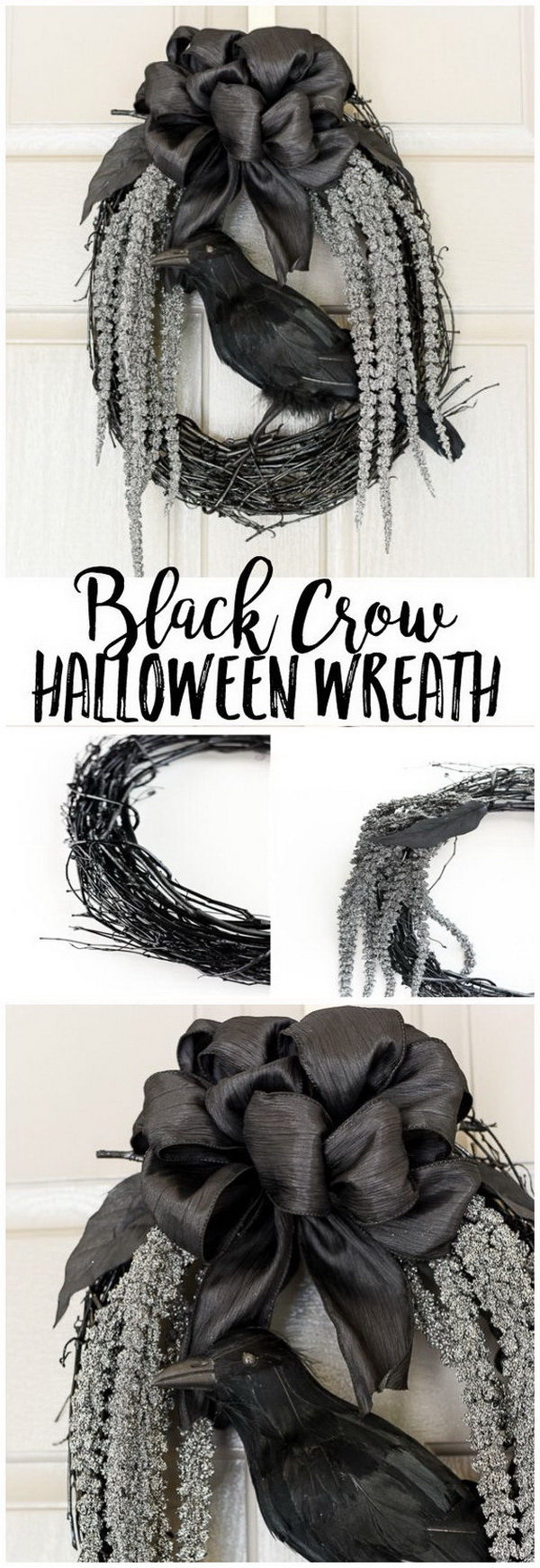 DIY Halloween Decorating Projects: DIY Black Crow Halloween Wreath.