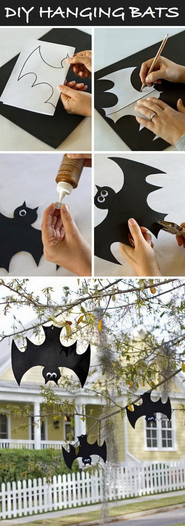 DIY Halloween Decorating Projects: DIY Hanging Foam Bats.