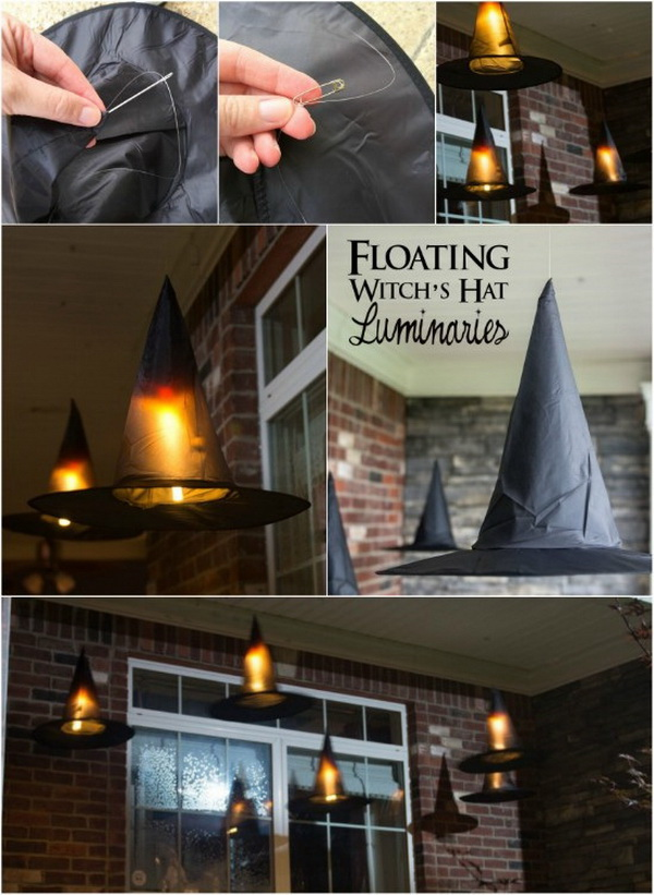 DIY Halloween Decorating Projects: Floating Witch Hat Luminaries.