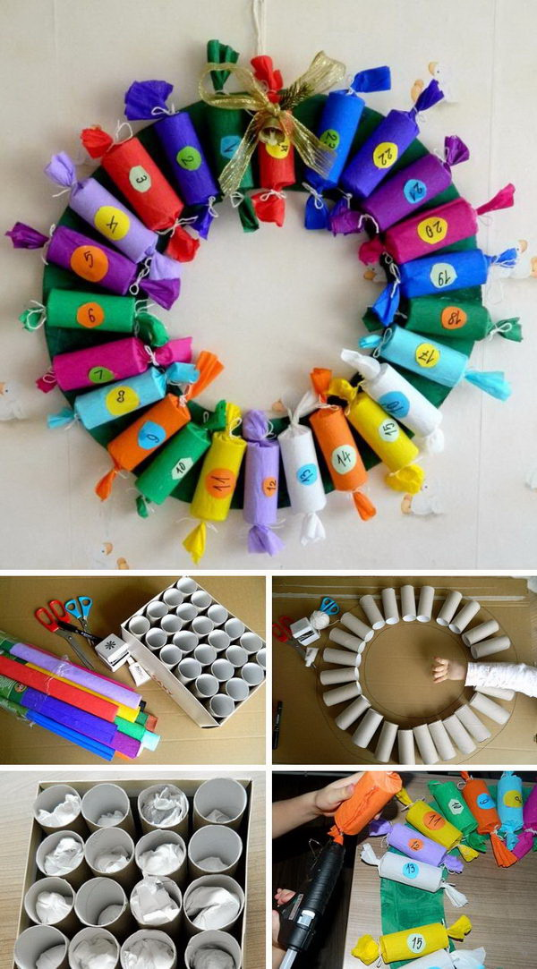 Candy Wreath Advent Calendar made with Toilet Paper Rolls.
