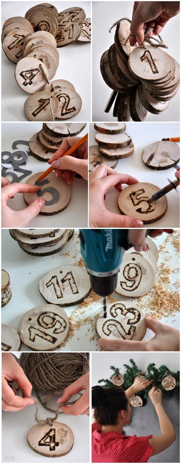 Wooden Ornaments Countdown Calendar.