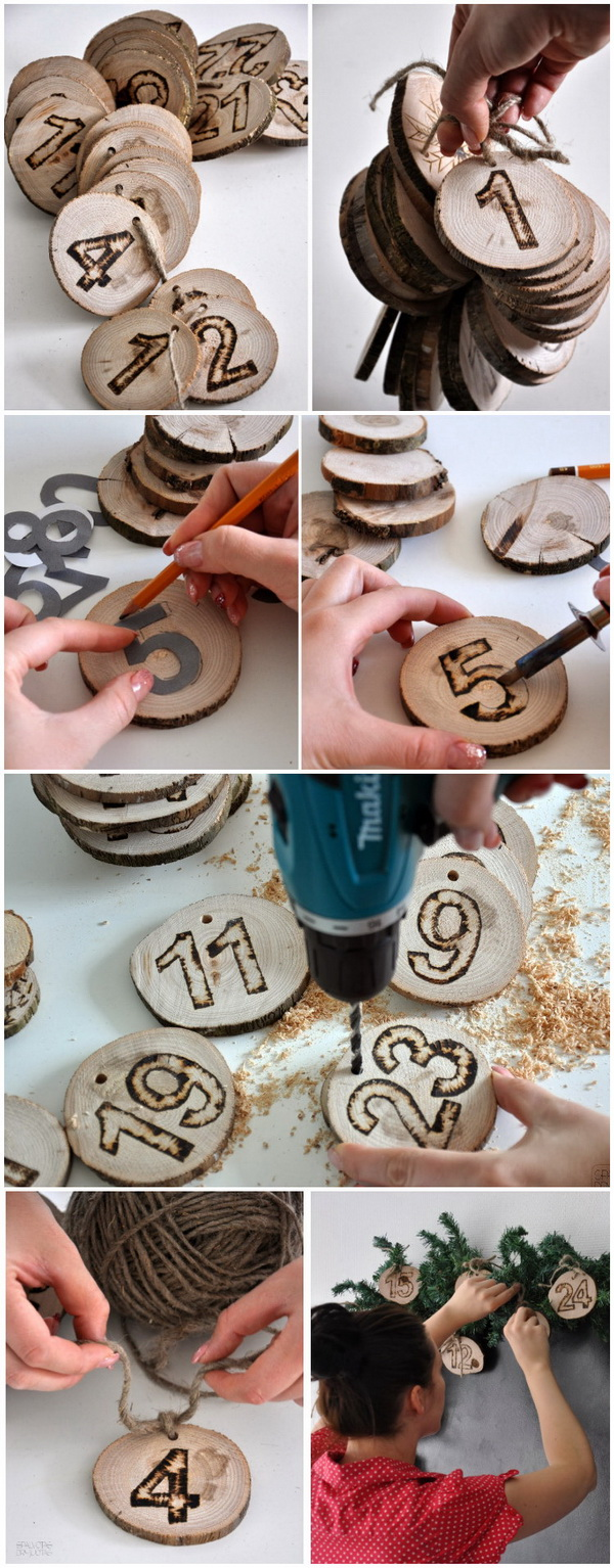Wooden Ornaments Countdown Calendar.