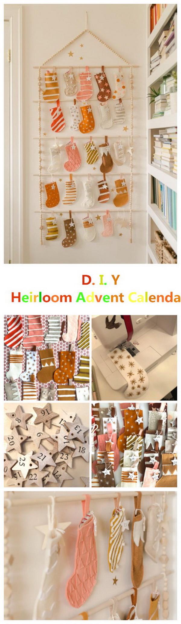 Felt Stockings Heirloom Advent Calendar DIY.