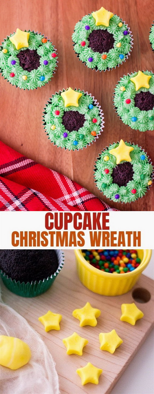 Quick and Easy Christmas Treat Ideas: Christmas Wreath Cupcakes.