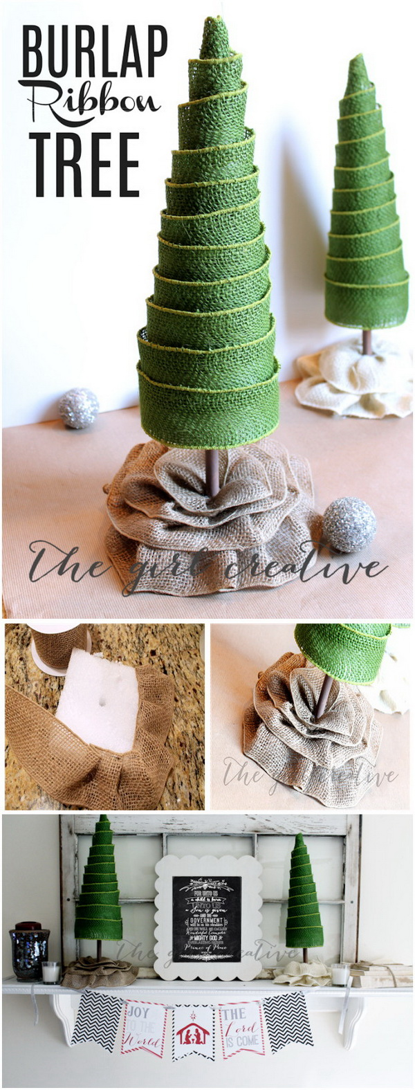 DIY Burlap Ribbon Trees.