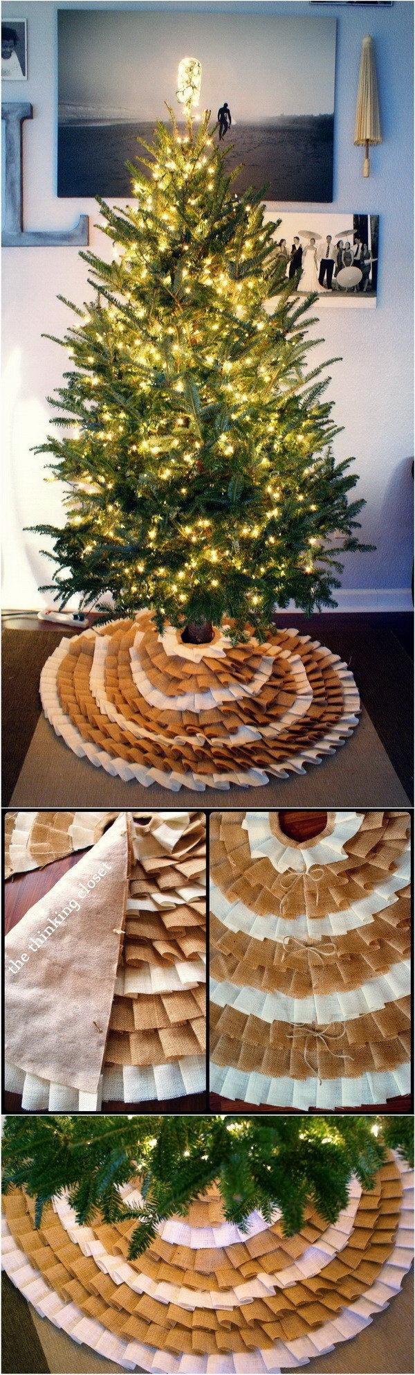 DIY No-Sew Ruffle Christmas Tree Skirt.