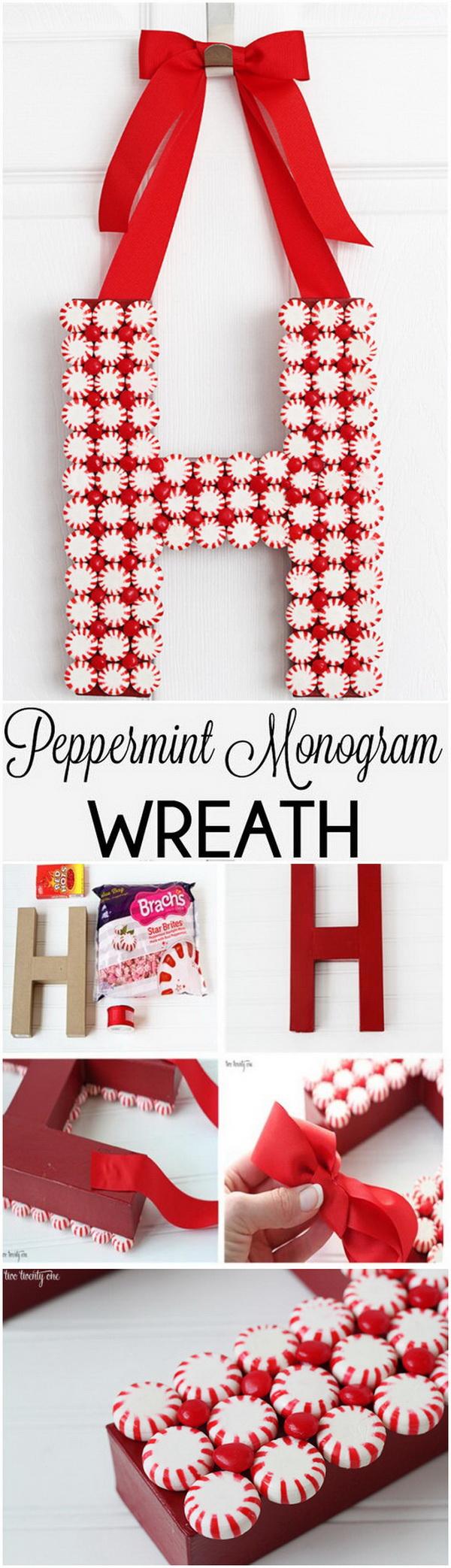 Peppermint Monogram Wreath.