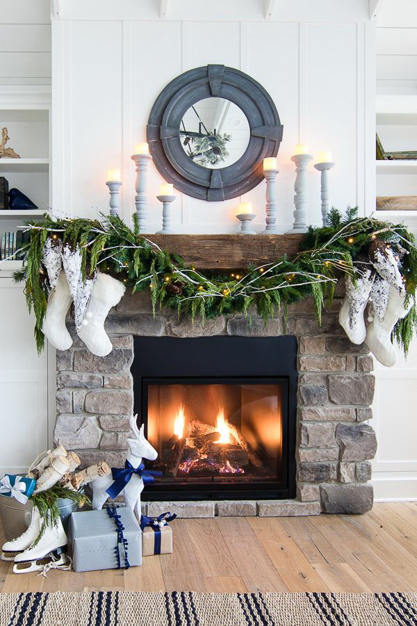 Branches and Candles for Farmhouse Christmas Mantel Decor.
